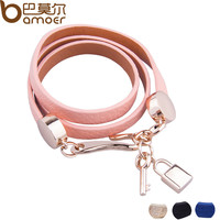 Luxury Real 18K Gold Plated Genuine Pink Wrap Leather Bracelet Three Circle Jewelry for Women PI0327