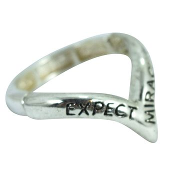 """Inspirational Message Ring """" Expect Miracles"""" Mini V Shape Ring"""