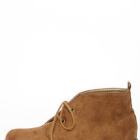 Dirty Laundry Pitch Tan Suede Lace-Up Ankle Boots