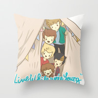 One Direction Live Like We're Young Cartoon 2 Throw Pillow by xjen94