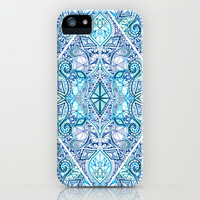 Blue and Teal Diamond Doodle Pattern iPhone & iPod Case by Micklyn