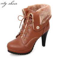 Soft PU leather autumn winter Warm women ankle boots High thin heels,Sexy Fashion Martin boots for Woman Big size shoes US 9.5