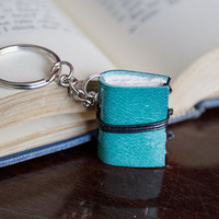 mini book keychain, key accessories leather keychain, zipper pull bag charm, key fob book keychain, book lover miniature journal - mint teal
