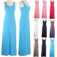 Sexy Solid Tank Racerback Sleeveless Maxi Long Full Length Summer Flare Dress