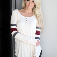 Cream Top With Color Block Sleeves