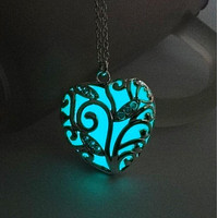 Turquoise Glow In the Dark Heart Necklace Pendant Christmas Gift for Daugher