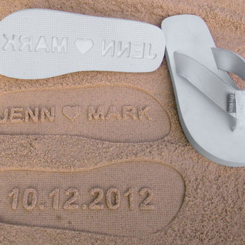 Custom Wedding Sandals for Beach Wedding. Personalize Flip Flops With Your Own Sand Imprint Design.