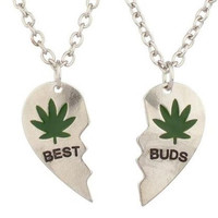 Best Buds Heart Charm Pendant Silver Plated Necklace OR Keychain