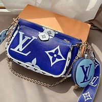 LV printed letters large capacity mahjong bag coin purse three-piece set