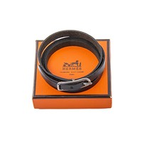 Authentic hermes black leather four wrap silver tone bracelet Tagre™
