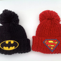 Batman or Superman Patch Knit PomPom Hat Unisex Oversized Winter Slouchy Hipster Turned Up Cuffed Beanie Bobble Hat
