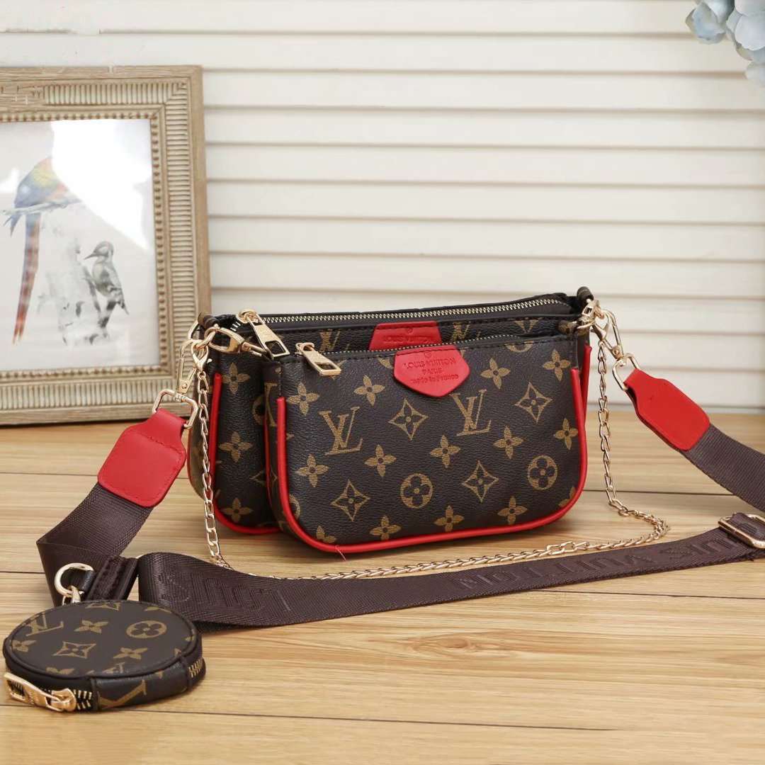 Image of Louis Vuitton LV Classic Letters Full Print Fashion Ladies Hand-held Chain Bag Coin Purse One Shoulder Messenger Bag Three-piece Set