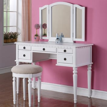 Poundex F4074 White 5-Drawer Vanity Set with Mirror and Stool