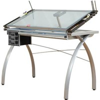 Save On Discount Studio Designs Futura Drafting Table, Silver Base, Tiltable Blue Glass Top, 3 Drawers & More at Utrecht