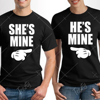 He Is Mine She Is Mine T-shirt T-shirts Matching T-shirts T-shirt Couple Hoodie Couple Hoodies Relationship Love Valentines Day T-shirt