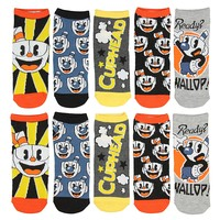Cuphead Socks No Show Ankle Cut 5-Pair Sets