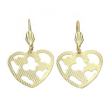 Gold Layered 5.104.010 Dangle Earring, Heart and Butterfly Design, Diamond Cutting Finish, Golden Tone