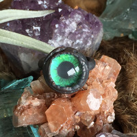 Taxidermy Green Glass Eye Ring Size 5.5