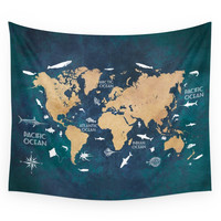 Society6 World Map Oceans Life Blue Wall Tapestry