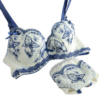 Sexy Women Floral Embroidery Push Up Padded Underwear Bra  Pant Set Brassieres Y46 P18 SM6
