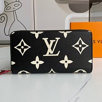 Louis Vuitton LV men's and women's printed letters zipper long wallet clutch