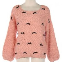 Soft-Hearted Companion Bow Trim Sweater in Peachy Pink | Sincerely Sweet Boutique