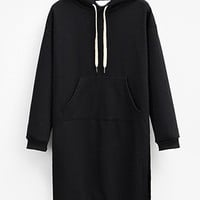 Black Hooded Drawstring Split Side Thick Sweatshirt Dress