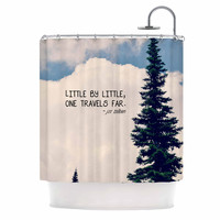 """Robin Dickinson """"Little By Little"""" Clouds Typography Shower Curtain"""