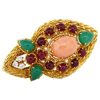 1970s Boucheron Oval Pink Coral Emerald Ruby Gold Cocktail Ring
