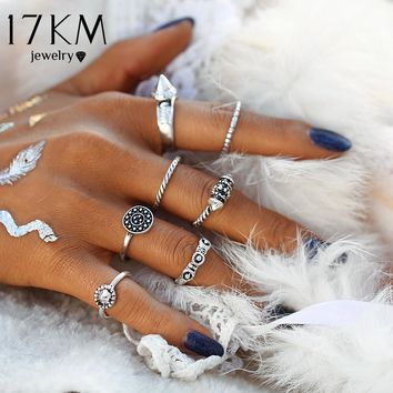 17KM 8PCS/LOT Brand New  Bohemian Midi Ring Set Vintage Steampunk Anillos Ring Charms Knuckle Rings for Women Anel