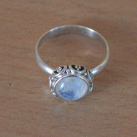 Moonstone Ring Sterling Silver Stacking Ring Solid Silver Boho Ring,Beautiful Selling Birthstone Rings,Girlfriend Gift Bohemian Rings NEW