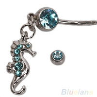 Seahorse Style Rhinestone Navel Belly Button Ring Body Piercing Jewelry Blue