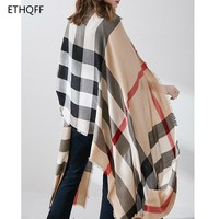 ETHQFF Winter new large plaid shawl, 100% wool women's scarf, oversized 70*200cm, thick warm plaid scarf blanket, Wool Bandana