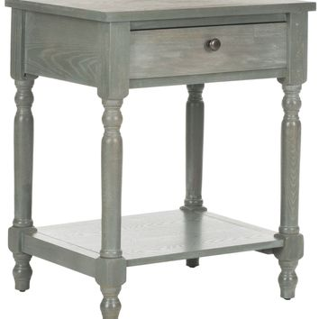 Tami Accent Table With Storage Drawer French Grey