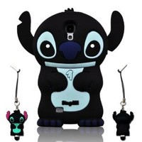 I Need 3D Fixed Ear Flip Silicone Cover Case Stitch & Lilo For Samsung Galaxy S4 S Iv I9500 Android Phone with 3d Stitch Stylus Pen - Black