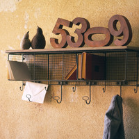 Small Wire Mesh Four Hole Cubby With Coat Rack