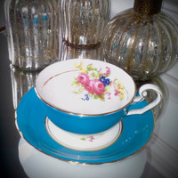 Vintage Victoria Cartwright and Edwards blue and white bone china tea cup and saucer set with floral transfer, Victoria C & E teacup