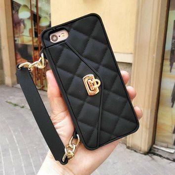 For iPhone 7 Cases Lady Elegant Silicone Anti-drop Portable Clutch  Holder Card Wallet