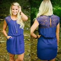 Window Of Opportunity Dress (Royal) - Piace Boutique
