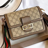 GUCCI New fashion more letter leather shoulder bag crossbody bag Khaki