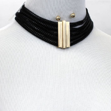 """12.50"""" thick 5 row choker collar necklace .30"""" earrings layered 1.80""""  wide"""