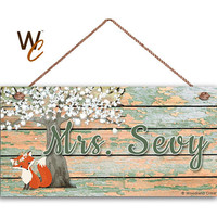"""Teacher Sign, Fox Under Tree Personalized Sign, Teacher's Name, Classroom Door Sign, Gift For Teacher, 5"""" x 10"""" Sign, Made To Order"""