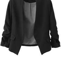 3/4 Sleeves Solid Color Blazer