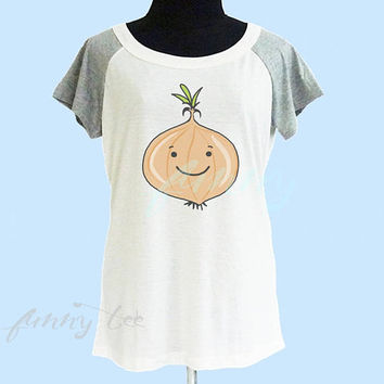 Onion tshirt cream grey women tshirt size S M L shirt **women tshirt **short raglan shirt