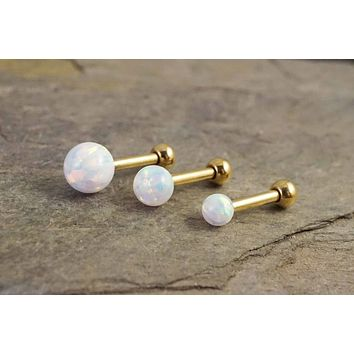 White Fire Opal Gold Stud Cartilage Earring Tragus Helix Piercing