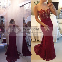 vestido de festa Elegant Dark Red Lace Long Mermaid Evening Dresses 2015 robe de soiree Appliques Beaded Formal Prom Gowns Dress