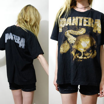 90s Vintage PANTERA Tshirt Black Cotton Jersey Heavy Metal Band T shirt Goth Grunge Punk Rocker Snake & Skull Top 1990s vtg S M