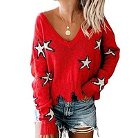 Heavens to Betsy Starry Destroyed Sweater