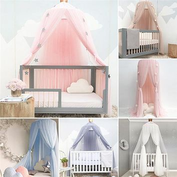 Baby Bed Dome valance Chiffon Lace Solid Color Crown Princess Bed Canopy Crib Decoration Baby Playpens Photography Props A052-30
