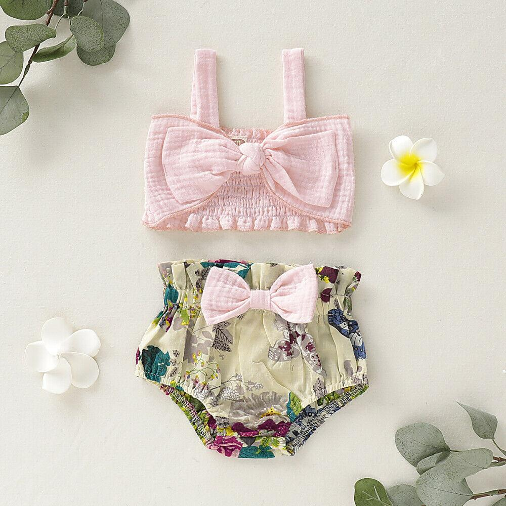 Image of US Summer Newborn Baby Girl Clothes Bow Vest Tops+Floral Shorts Outfit Sunsuit
